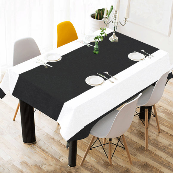 Black White Stripes Cotton Linen Tablecloth 52