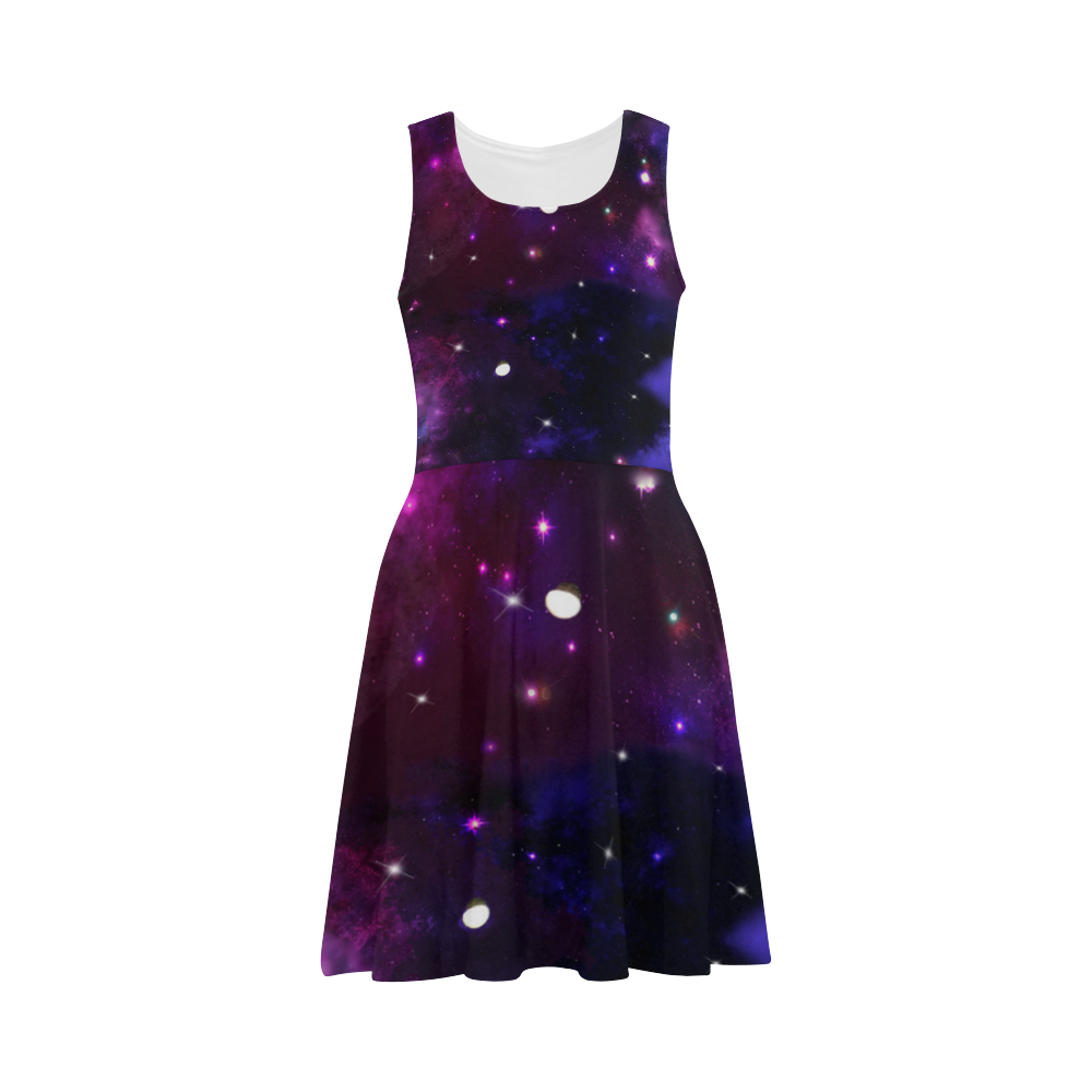 Midnight Blue Purple Galaxy Atalanta Sundress (Model D04)