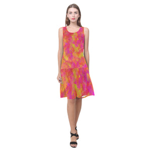 Yellow Red Damask Sleeveless Splicing Shift Dress(Model D17)