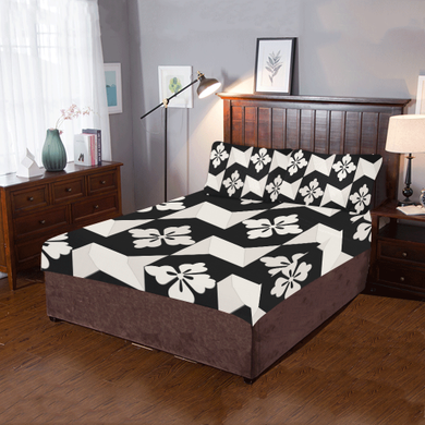 Black White Tiles 3-Pieces Bedding Set