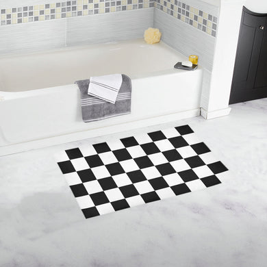 Black White Checkers Bath Rug 16''x 28''