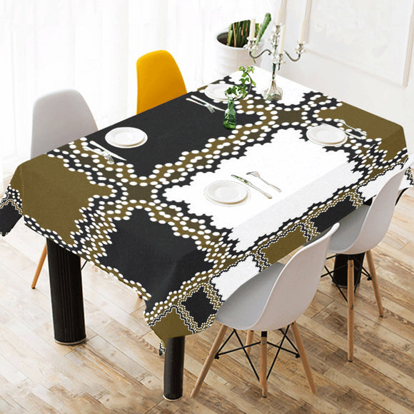Black White Madras Cotton Linen Tablecloth 52