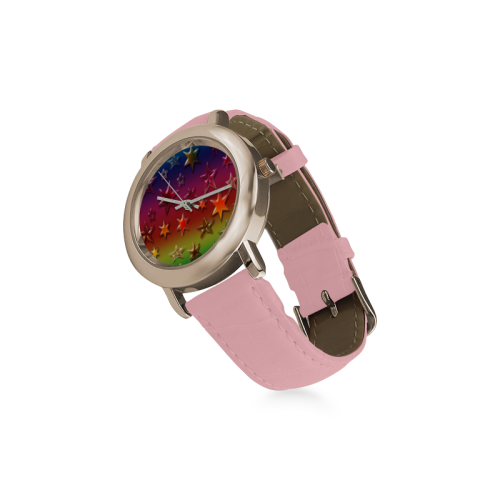Rainbow Stars Women's Rose Gold Leather Strap Watch(Model 201)