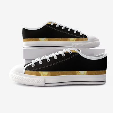 Black Gold Stripes Unisex Low Top Canvas Shoes