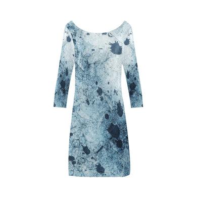 Water Blue Splatter Bateau A-Line Skirt (D21)