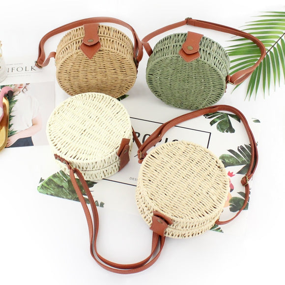Women Rattan Round Straw Handmade Woven Cross Body Circle Bohemia Handbag Bali Box