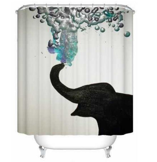 Elephant Theme Shower Curtain Waterproof Bathroom Decor