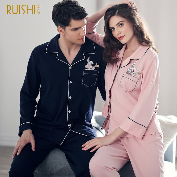 Couple Pajamas Cotton Men Women Matching High Quality Long Sleeve Top Pants Sleepwear