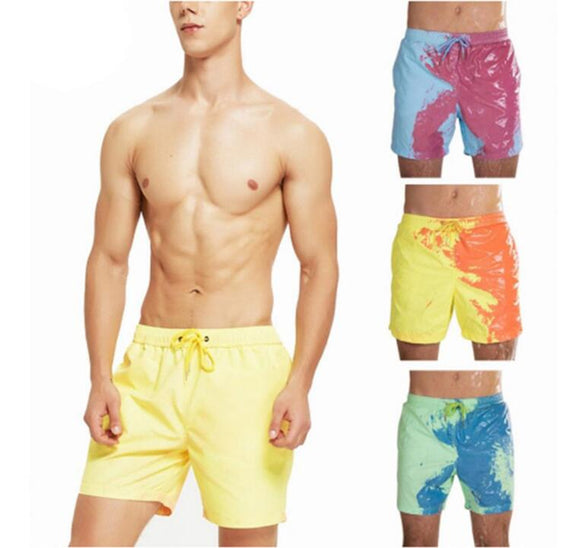 Men Change Color Quick Dry High Temperature Discoloration Swimming Shorts