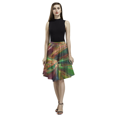 Abstract Colorful Glass Melete Pleated Midi Skirt (Model D15)