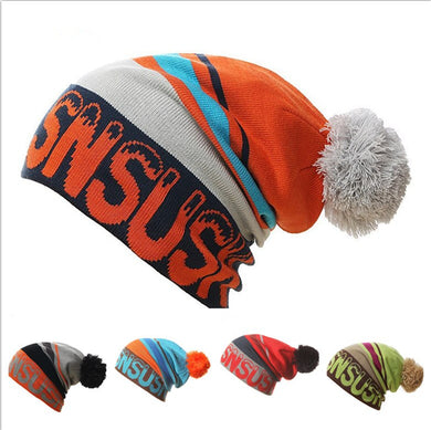Winter Beanies Collar Scarf Unisex Hip Hop Hats Knitting Skating Skull Ski Cap