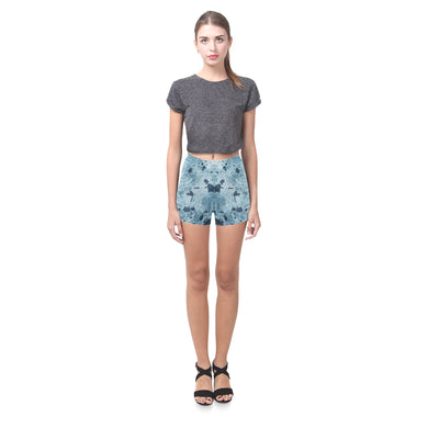 Water Blue Splatter Briseis Skinny Shorts (Model L04)