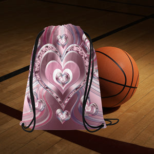 "River Flowing Hearts Medium Drawstring Bag Model 1604 (Twin Sides) 13.8""(W) * 18.1""(H)"