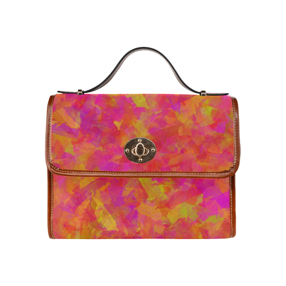 Yellow Red Damask Waterproof Canvas Bag/All Over Print (Model 1641)