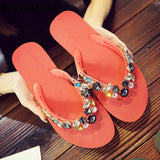SUOJIALUN Women's Summer Slipper Brand Crystal Beach Flip Flops Women Flat Heel Casual