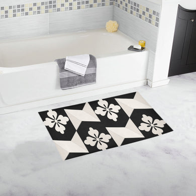 Black White Tiles Bath Rug 16''x 28''