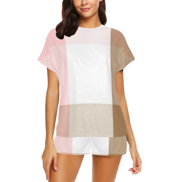 Neapolitan Crisscross Women's Short Pajama Set (Sets 01)