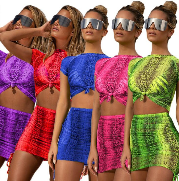 Print Snake Skin Beach Cover Ups Women Mesh See Through Tops+A line Skirts