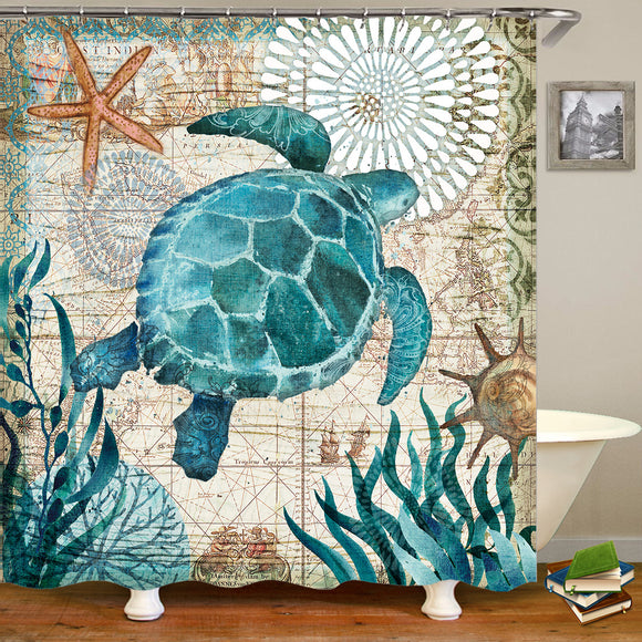 Sea World Style Pattern Bathroom Shower Curtain