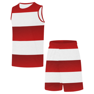 Red White Stripes All Over Print Basketball Uniform