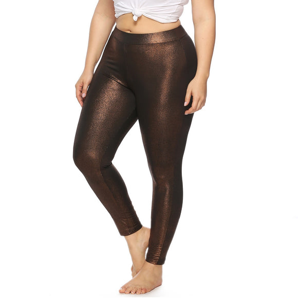 Women Plus Size Glossy Skinny Sports Jogging Leggings Sweatpants