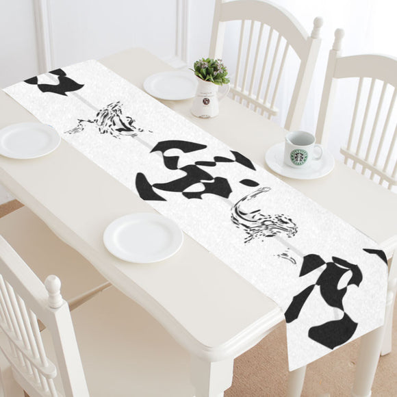 Black White Ornaments Table Runner 14x72 inch