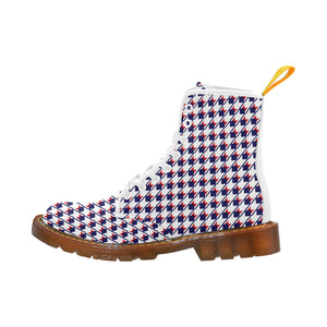 Red White Blue Houndstooth Martin Boots For Women Model 1203H