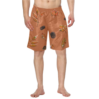 Orange Leaves Pattern Men's Swim Trunk (Model L21)