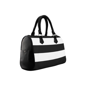 Black White Stripes Boston Handbag (Model 1621)