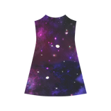 Midnight Blue Purple Galaxy Alcestis Slip Dress (Model D05)