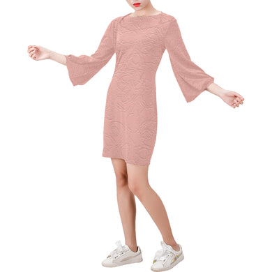 Sea Pink Sundown Bell Sleeve Dress (Model D52)