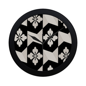 Black White Tiles Circular Plastic Wall clock
