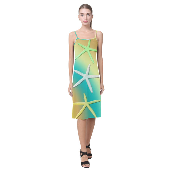 Lime White Yellow Starfishes Alcestis Slip Dress (Model D05)