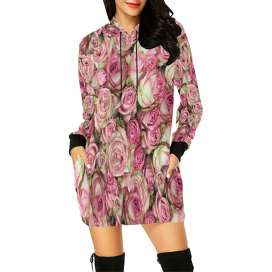 Your Pink Roses All Over Print Hoodie Mini Dress (Model H27)