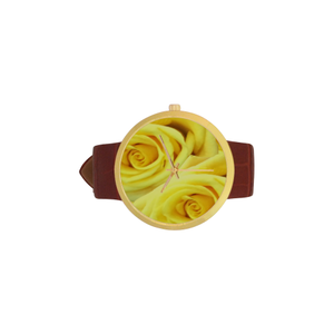 Candlelight Roses Women's Golden Leather Strap Watch(Model 212)
