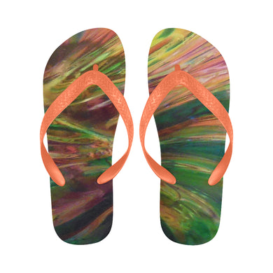 Abstract Colorful Glass Flip Flops for Men/Women (Model 040)