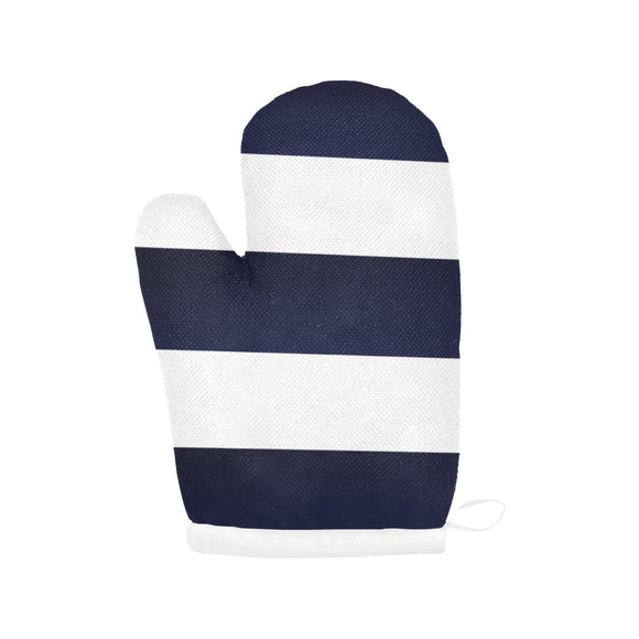 Blue White Stripes Oven Mitt
