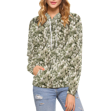 White Linen Baby's Breath All Over Print Hoodie (for Women)