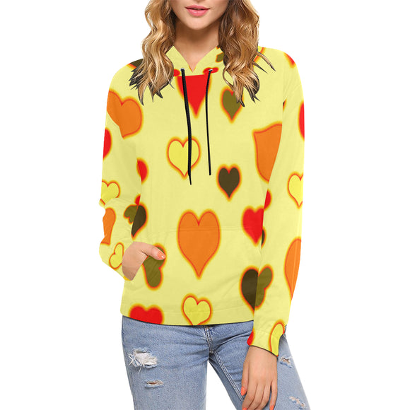 Hearts Pattern All Over Print Hoodie for Women (USA Size) (Model H13)