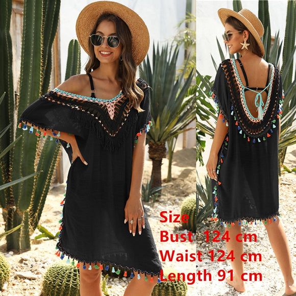 BKNING Asymmetry Swim Cover Up Tunic Beach Dress Women Boho