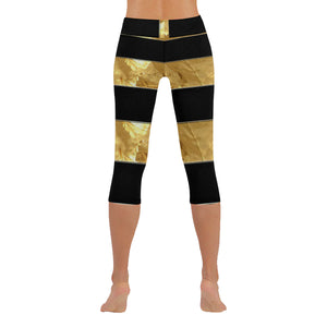 Black Gold Stripes New Low Rise Capri Leggings (Flatlock Stitch) (Model L09)