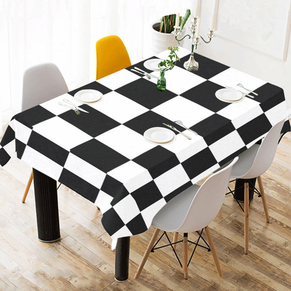 Black White Checkered Cotton Linen Tablecloth 52