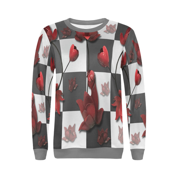 Burnt Crimson Flora All Over Print Crewneck Sweatshirt for Women (Model H18)