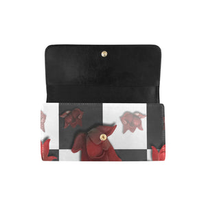 Burnt Crimson Flora Women's Trifold Wallet (Model 1675)