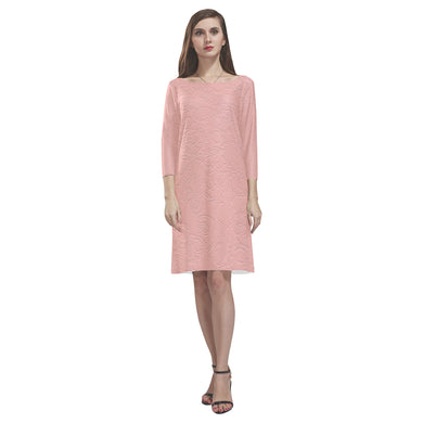Sea Pink Sundown Rhea Loose Round Neck Dress(Model D22)