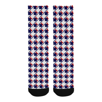 Red White Blue Houndstooth Trouser Socks