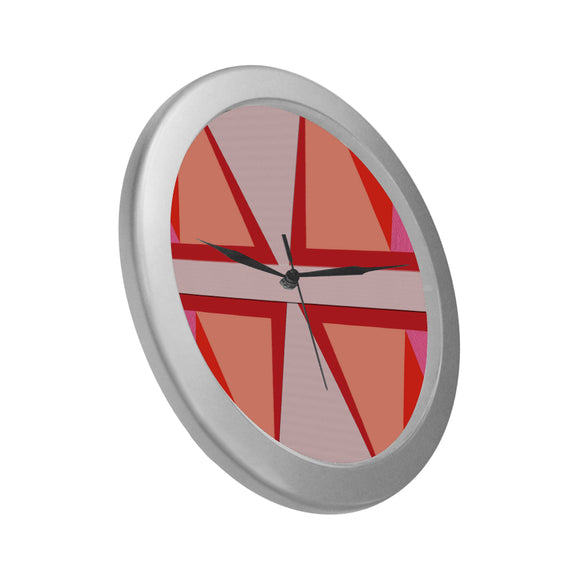 Shades of Red Patchwork Silver Color Wall Clock