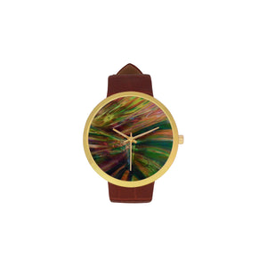 Abstract Colorful Glass Women's Golden Leather Strap Watch(Model 212)