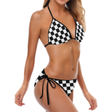 Black White Checkers Custom Bikini Swimsuit (Model S01)