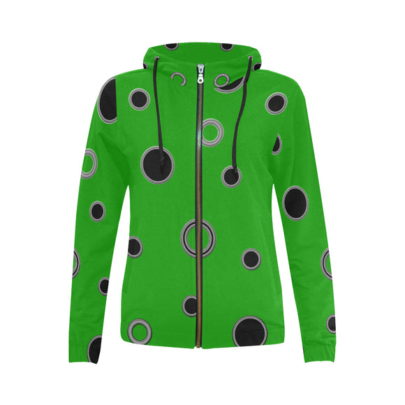 Black Polka Dots All Over Print Full Zip Hoodie for Women (Model H14)
